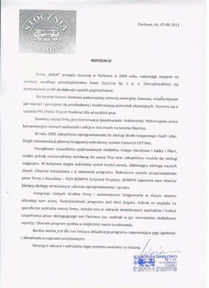 Referencje za wdrożenie Comarch ERP Optima od Stoczni Darłowo - strona 1