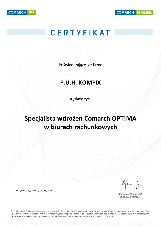 Certyfikat dotyczący specjalizacji wdrożeń Comarch Optima w biurach rachunkowych