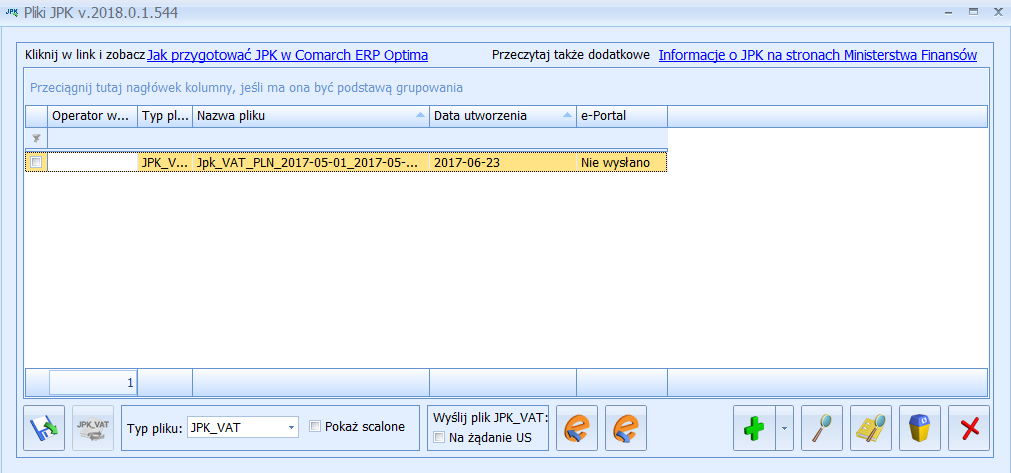 Comarch ERP Optima - Okno JPK