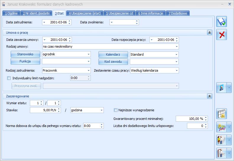 Formularz danych kadrowych w Comarch ERP Optima Płace i Kadry