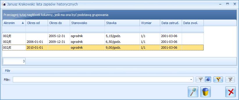 Lista zapisów historycznych w Comarch ERP Optima Płace i Kadry