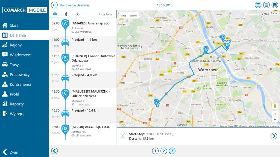 Planowanie działania w Comarch Mobile Monitorowanie