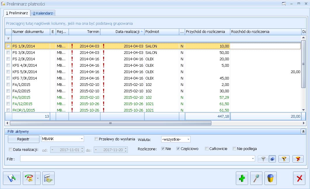 Preliminarz płatności w Comarch ERP Optima Księgowość