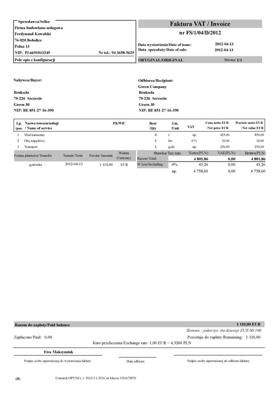 Comarch ERP wydruk - Faktura sprzedaży wzór 12