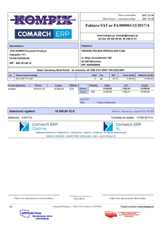 Comarch ERP wydruk - Faktura sprzedaży wzór 13