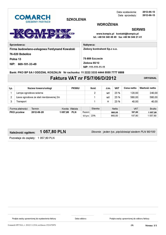 Comarch ERP wydruk - Faktura sprzedaży wzór 2