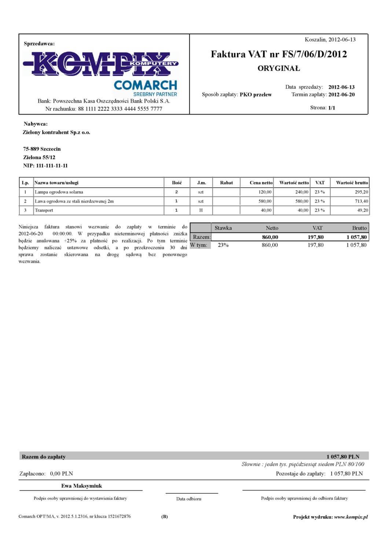 Comarch ERP wydruk - Faktura sprzedaży wzór 3