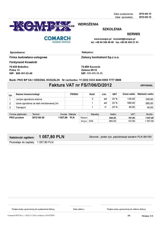 Comarch ERP wydruk - Faktura sprzedaży wzór 7