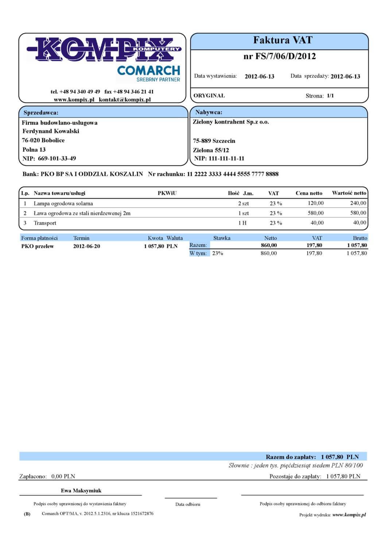 Comarch ERP wydruk - Faktura sprzedaży wzór 4