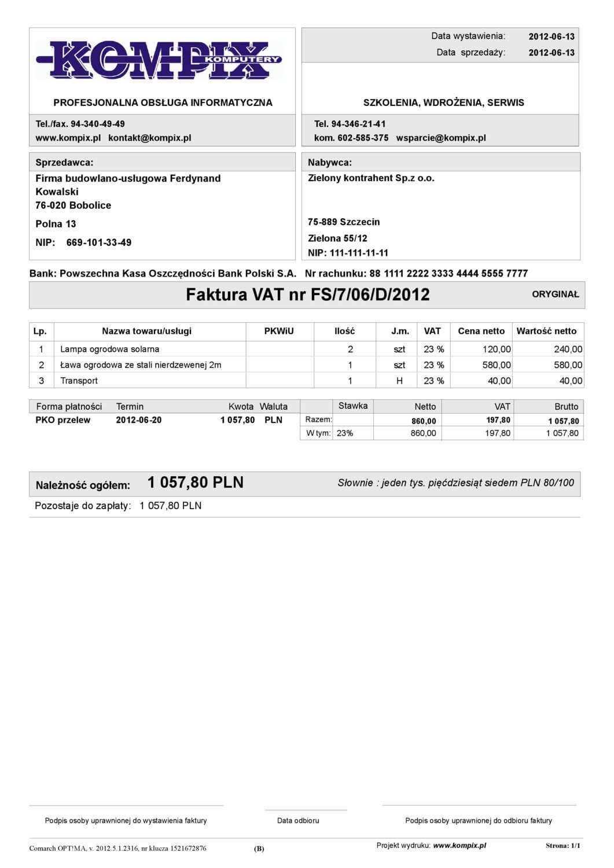 Comarch ERP wydruk - Faktura sprzedaży wzór 1