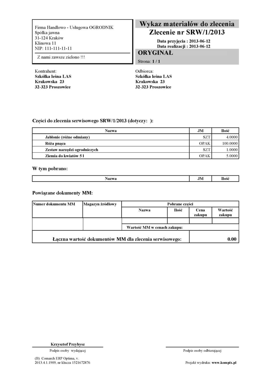 Comarch ERP wydruk - Potwierdzenie wykonania usług do zlecenia serwisowego