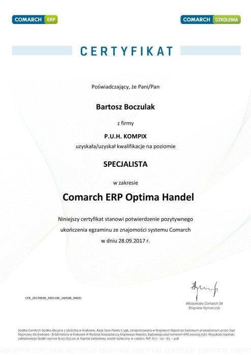 Certyfikat z obszaru Comarch ERP Optima Handel - BB