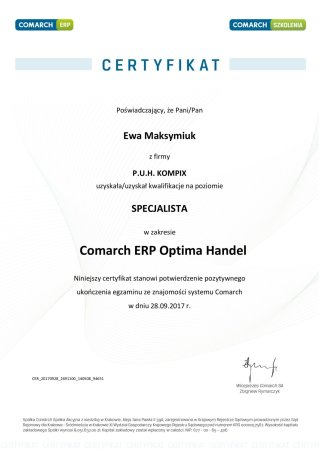 Certyfikat z obszaru Comarch ERP Optima Handel - EM