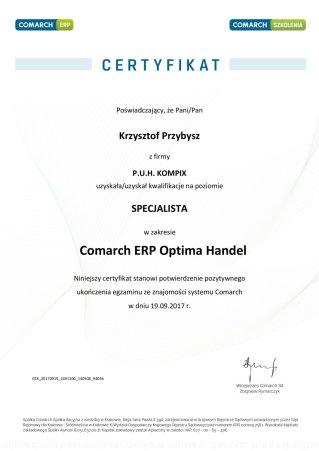Certyfikat z obszaru Comarch ERP Optima Handel - KP