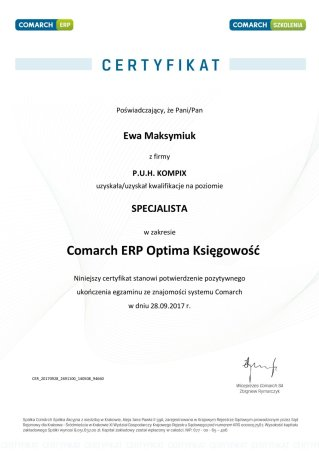 Certyfikat z obszaru Comarch ERP Optima Księgowość - EM