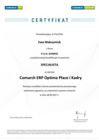 Certyfikat z obszaru Comarch ERP Optima Płace i Kadry - EM