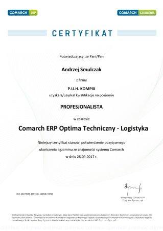 Certyfikat Comarch ERP Optima Techniczny - Logistyka - AS