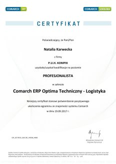 Certyfikat Comarch ERP Optima Techniczny - Logistyka - NK
