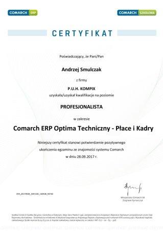Certyfikat Comarch ERP Optima Techniczny - Płace i Kadry - AS