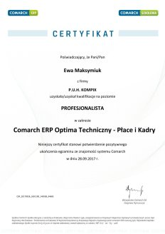 Certyfikat Comarch ERP Optima Techniczny - Płace i Kadry - EM