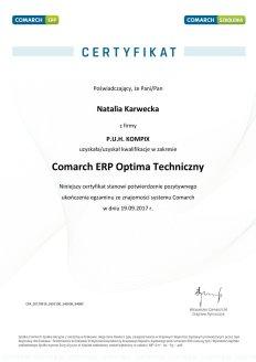 Certyfikat Comarch ERP Optima Techniczny - NK