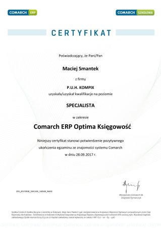 Certyfikat z obszaru Comarch ERP Optima Księgowość - MS