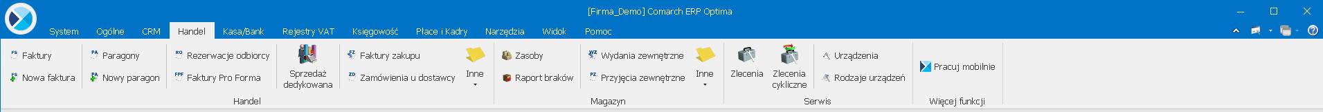 Comarch ERP Optima Menu