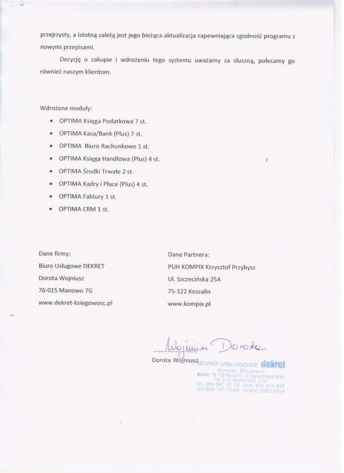 Referencje za wdrożenie Comarch ERP Optima od Biura Rachunkowego Dekret Koszalin - strona 2