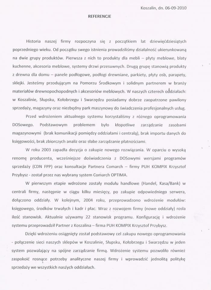Referencje za wdrożenie Comarch ERP Optima od Kosmaz Koszalin - strona 1