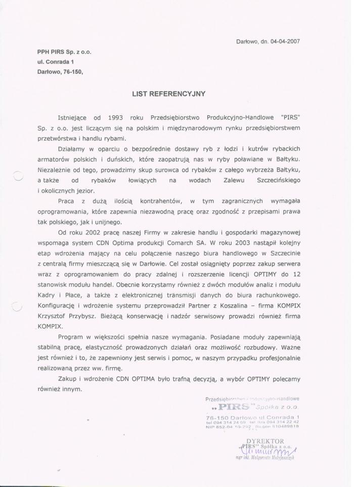 Referencje za wdrożenie Comarch ERP Optima od Pirs Darłowo