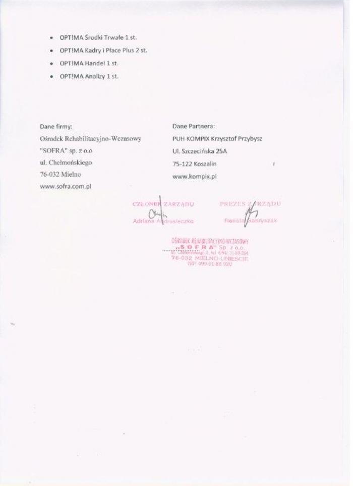 Referencje za wdrożenie Comarch ERP Optima od Sofra Mielno - strona 2