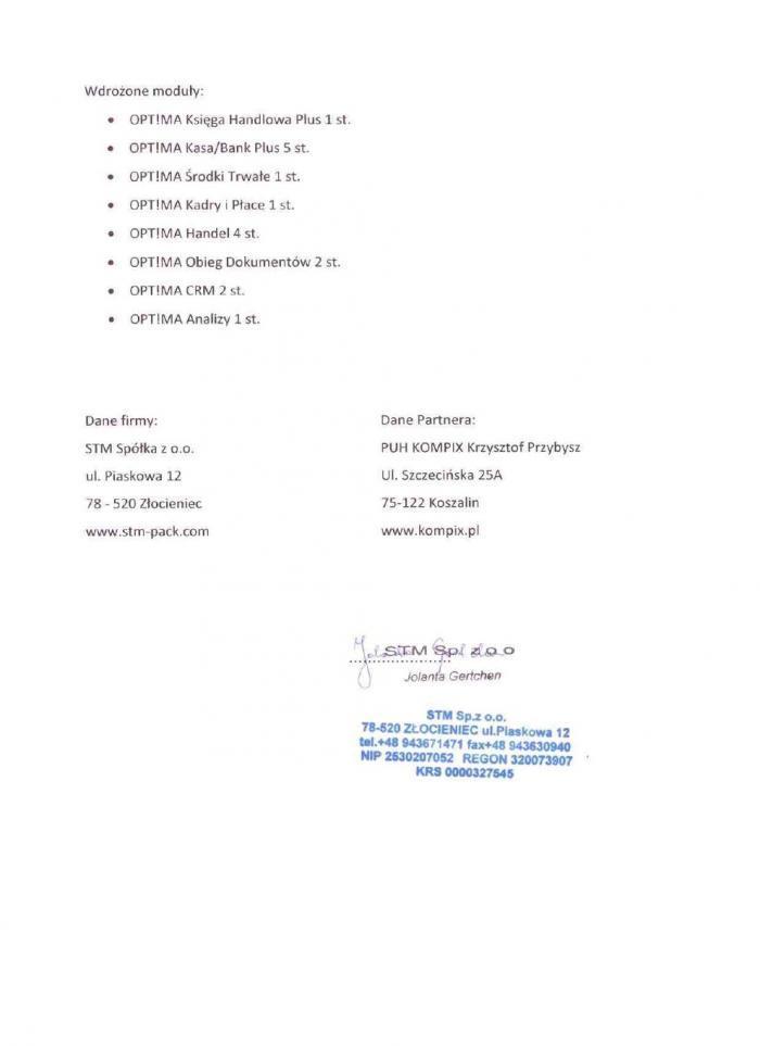 Referencje za wdrożenie Comarch ERP Optima od STM Złocieniec - strona 2
