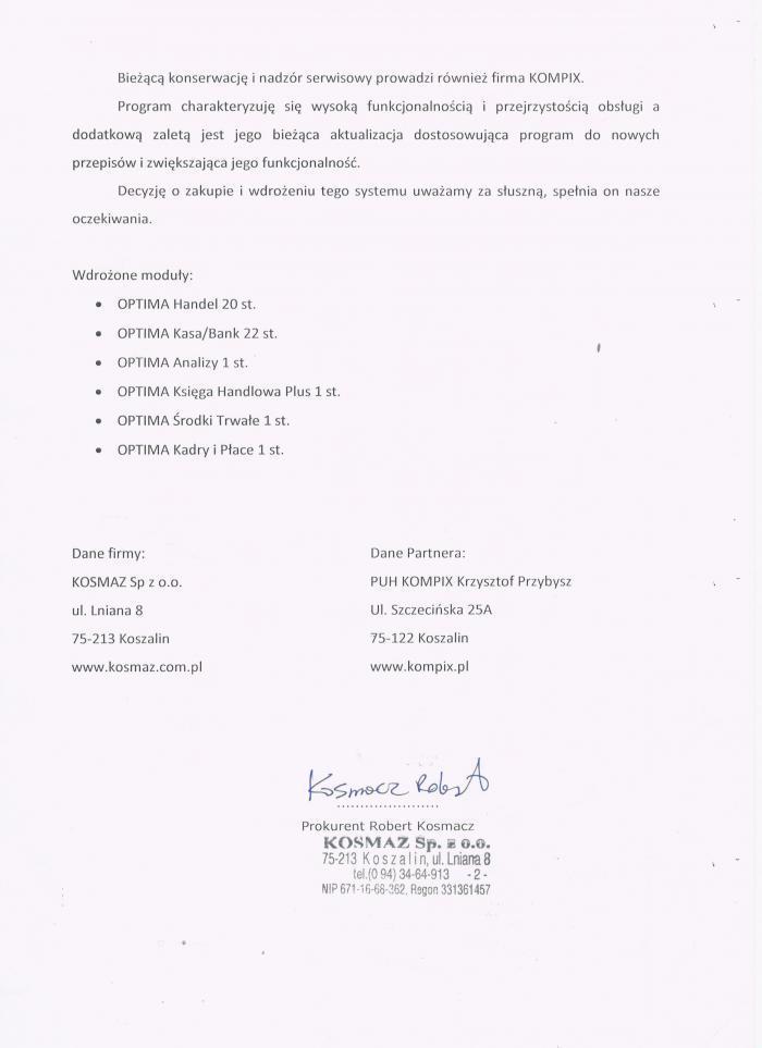 Referencje za wdrożenie Comarch ERP Optima od Kosmaz Koszalin - strona 2