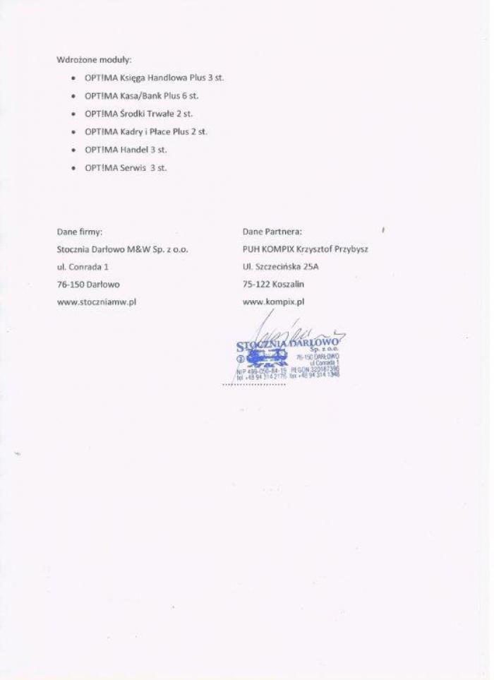 Referencje za wdrożenie Comarch ERP Optima od Stoczni Darłowo - strona 2