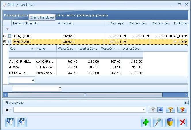 Oferty handlowe w Comarch ERP Optima CRM