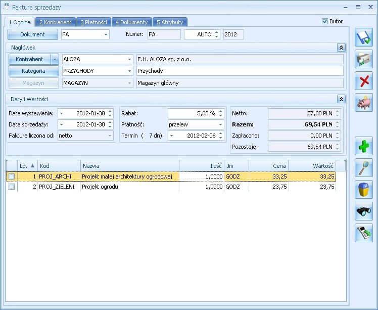 Faktura sprzedaży w Comarch ERP Optima Handel