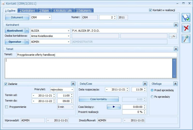 Kontakt w Comarch ERP Optima CRM