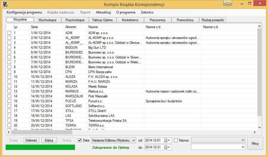 Lista przesyłek w aplikacji Kompix Księga Korespondencji