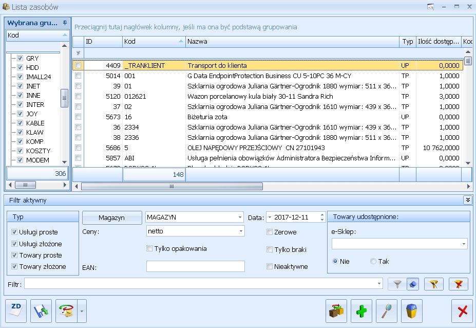 Przykładowa lista zasobów w Comarch ERP Optima Handel
