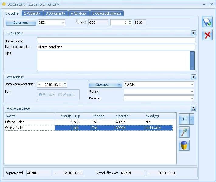 Przykładowy dokument w Comarch ERP Optima Obieg Dokumentów