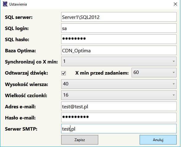 Ustawienia aplikacji Kompix Zadania