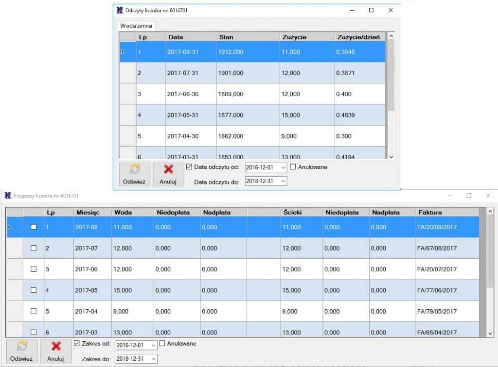 Odczyty i prognozy w aplikacji Kompix Woda