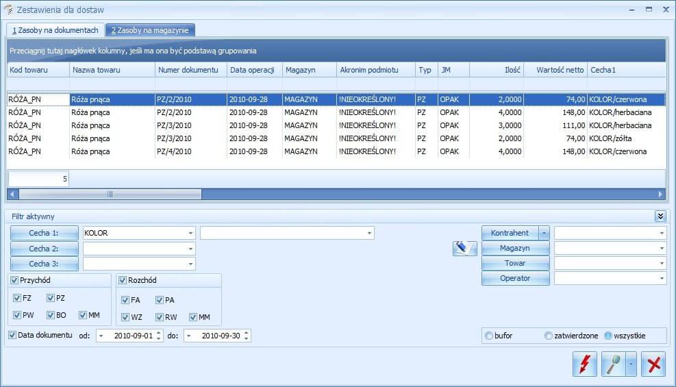 Zestawienie dla dostaw w Comarch ERP Optima Handel